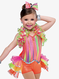 Girls Day O Dance Costume Bustled Halter Shorty Unitard