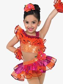 Girls Havana Ruffle Character Dance Shorty Unitard