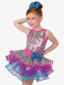 Girls Performance Rainbow Palace Sequin Tank Tutu Dress