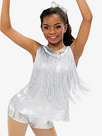 Womens Euphoria Dance Costume Fringe Shorty Unitard Set