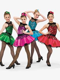 Womens Cmon Everybody Dance Costume Sequin Tutu Dress