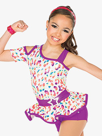 Girls Get On Your Feet Leopard Print Performance Shorty Unitard