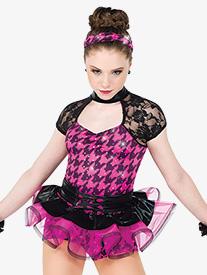 Womens Swish Swish Houndstooth Dance Costume Shorty Unitard