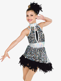 Girls Whats My Name Sequin Performance Halter Dress