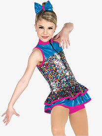 Girls Feel It Still Sequin Dance Performance Shorty Unitard