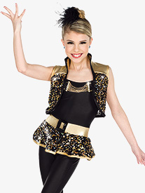 Girls Rebel Metallic Sequin Dance Performance Set