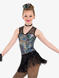 Girls Thats Life Sequin Performance Tank Leotard