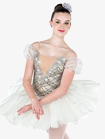 Womens Solitaire Lace Ballet Performance Tutu Dress