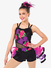Womens Oye Ye Floral Print Performance Camisole Leotard