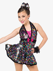 Girls Breakin Dishes Sequin Halter Dance Performance Dress