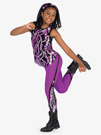 Girls Dangerous Wavy Sequin 2-Piece Performance Dance Set