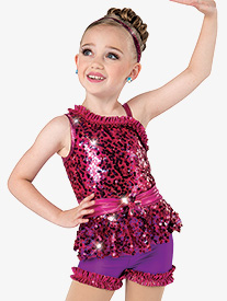 Girls Write Your Name Sequin One Shoulder Performance Leotard