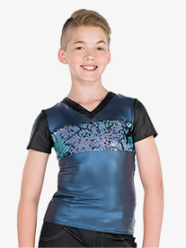 Boys Faux Leather Dance Performance Top