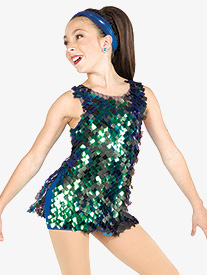 Womens Hey Girls Square Sequin Dance Performance Set