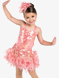 Girls Positoovity Boa Trim Dance Performance Dress