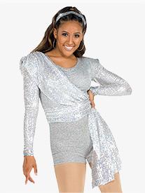 Girls Misdemeanor Sequin Drape Performance Shorty Unitard