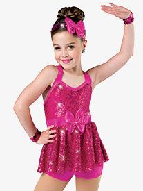Girls Melodies Sequin Dance Performance Shorty Unitard