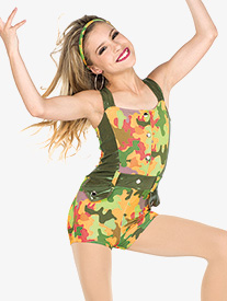 Girls Intense Camouflage Performance Shorty Unitard