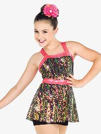 Girls Brand New Sequin Performance Shorty Unitard
