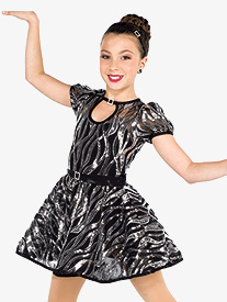 Girls One Night Only Wavy Sequin Dance Performance Dress