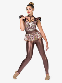 Girls The Purge Sequin Peplum Performance Unitard
