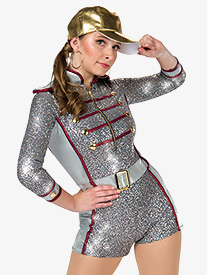 Womens Hypnosis Sequin Performance Shorty Unitard