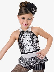 Girls Be Our Guest Sequin Halter Performance Leotard