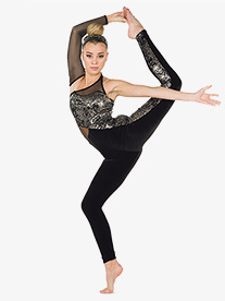Womens Orly Metallic Asymmetrical Performance Unitard