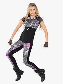 Womens Lanes Foil Splatter 2-Piece Performance Dance Costume Set