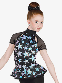 Girls Spacelab Star Print Performance Shorty Unitard