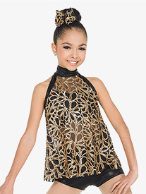 Womens Comes Undone Sequin Mesh 2-Piece Dance Costume Set