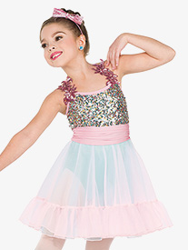 Girls Merry Go Round Sequin Flower Performance Dress