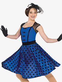 Womens Swing With Me Polka Dot Performance Dance Dress