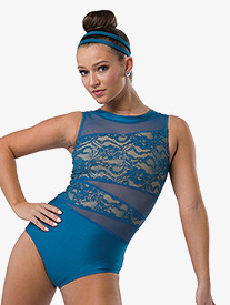 Girls I Try Lace Performance Leotard