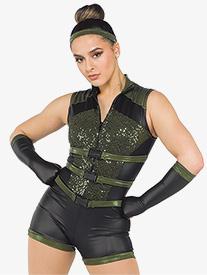 Girls Black Widow Military Style Performance Shorty Unitard
