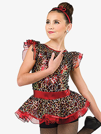 Womens Feel Like a Woman Sequin Bustled Performance Shorty Unitard