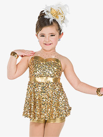 Girls Sing Sequin Performance Bustled Shorty Unitard