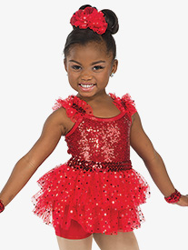 Girls Shake The Room Sequin Performance Bustled Shorty Unitard