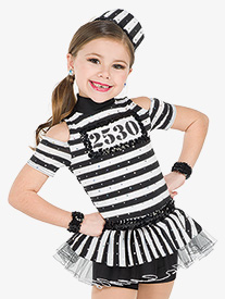 Womens Doing Time Striped Performance Bustled Shorty Unitard