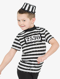 Boys Doing Time Striped Short Sleeve Performance Top