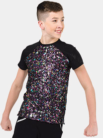 Mens Take Over Top Sequin Performance Top