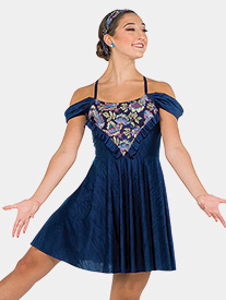 Womens Drop In The Ocean Floral Embroidery Performance Dress