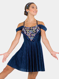 Girls Drop In The Ocean Floral Embroidery Performance Dress