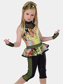 Girls Bad Man Tie-Dye Print Performance Unitard