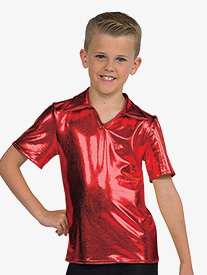 Mens Performance Metallic Collared Short Sleeve Top