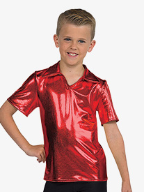 Boys Performance Metallic Collared Short Sleeve Top