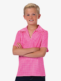 Boys Gingham Print Performance Top