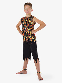 Boys King of the Jungle Tiger 2-Piece Dance Costume Set