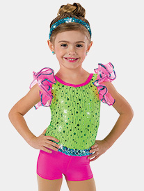 Girls Do The Conga Glitter Sequin Performance Shorty Unitard