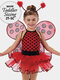 Girls Little Ladybugs Dotted Performance Tutu Dress